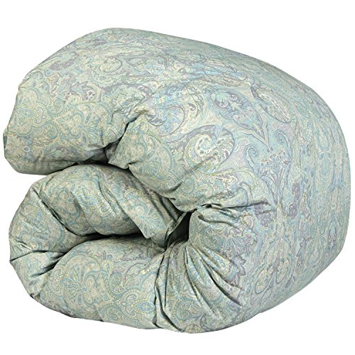 SNOWMAN 羽毛布団 シングル グースダウン90% ダウンパワー370dp 以上 2倍の洗浄度 7年長期保証 パワーアップ加工 ダウンプルーフ加工 洗浄 抗菌 防臭 防ダニ 掛け布団 (シングル, グリーン系ペイズリー柄)… -