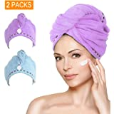 Microfiber Hair Towel Turban Wrap, AMoko Super Absorbent Anti-Frizz Hair Drying Towels Cap for Curly, Long and Thick Hair, 2