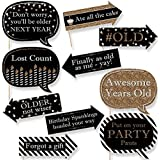 Funny Adult Happy Birthday - Gold - Birthday Party Photo Booth Props Kit - 10 Count