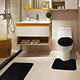 Golden Linens Luxury Microfiber 3 Pieces Bathroom Rug Mat, Extra Soft Touch and Absorbent Shaggy Rugs, Machine Wash Dry,(Bath