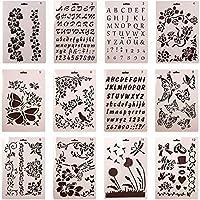 Da Jia Inc 12個のスクラップブッキング図面カードとクラフトプロジェクトのための異なるプラスチック製のステンシル文字数グラフィックテンプレート(パターン1-12)