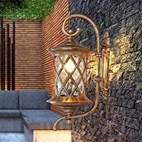 HLQW wall lamp ヨーロッパとアメリカの屋外の壁ランプ防水ヴィラレトロリビングルーム回廊ランプバルコニーランプ庭の壁掛けランプ、アンティーク銅 (Size : S 24*18*45 cm)