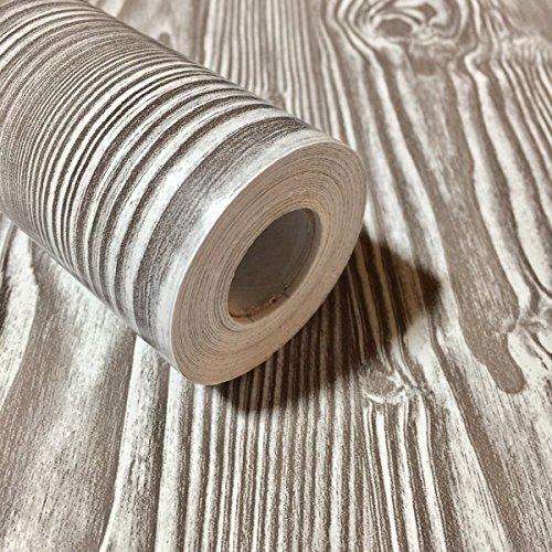RUDOSTYLE 壁紙 木目 クロス はがせる 防水 壁紙シール 超簡単リフォーム 45cm×10m 【正規品】 (木目調 アンティークグレー)