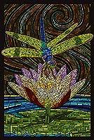 Dragonfly–用紙モザイク 12 x 18 Signed Art Print LANT-42948-708