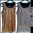 RONDEL-BLACK(ロンデルブラック)ホログラム キラキラ プリント タンクトップ ダンス衣装 ネコポス可 silver