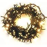 Bandiera イルミネーション LED 屋外 500灯 500球 全長 約18m ストレート ライト 連結 可能 防水 防滴型 8パターン 点灯 コントローラー付 クリスマス (シャンパンゴールド) /2000球まで連結可能