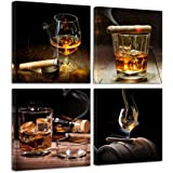 Pyradecor Cigar Wine Whisky Canvas Prints Wall Art Liquor Still Life Pictures Paintings for Kitchen Bar Pub Home Decorations
