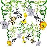 LUCKKYY 30個 動物 森 吊り下げ 渦巻き デコレーション ホイル スパイラル 渦巻き バナー 旗 ガーランド ストリーマー ベビー ルーム