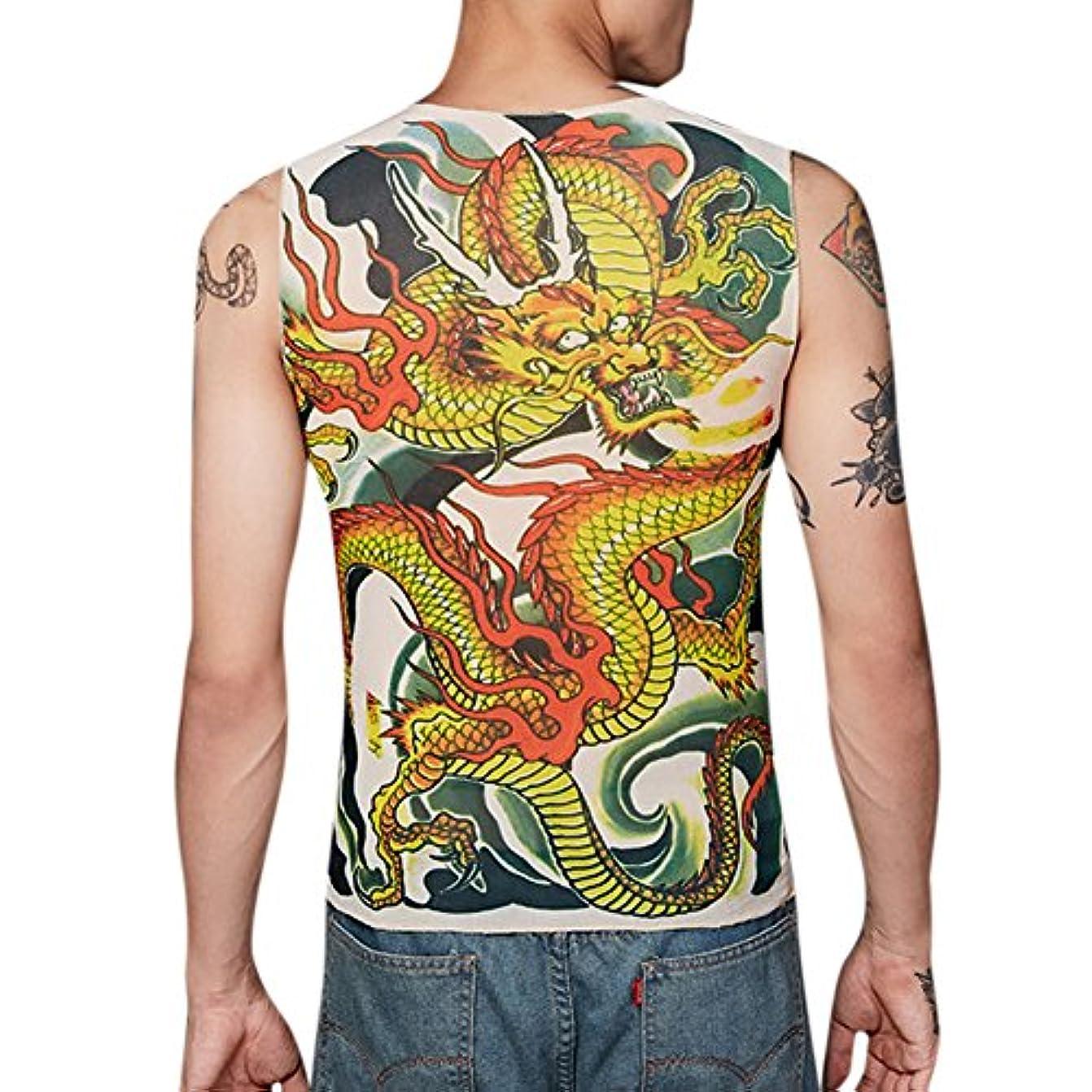 間違い持続的ささやきLiebeye タトゥーシャツ メンズ 男性 おしゃれ かっこいい 和柄 刺青 入れ墨 細身 紫外線対策 日焼け止め レジャー 通気 ベスト フリーサイズ 極道