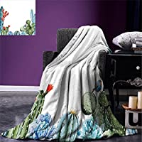 "smallbeefly Cactus Throw Blanket Succulentグレースケールのコレクションをサボテン植物シルエットArrangement Desert Flora暖かいマイクロファイバーすべてシーズン毛布ベッドやソファグレーアイボリー 90""x70"" fly01-maotan0424-22430C230xK180"