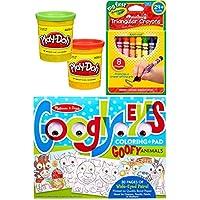 クリエイティブCrayola簡単グリップクレヨン/ Googly EyesカラーリングパッドGoofy動物+ play-doh 2色缶アクティビティセット