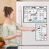 Magnetic Dry Erase Calendar for Refrigerator, Monthly Planner Fridge Calendar Kitchen Magnets Large Whiteboard Erasable Meal