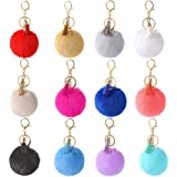 Auihiay 12 Pieces Pom Poms Keychains Fluffy Pompoms Keyring With Tassel Pendants