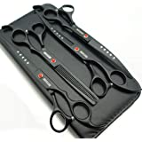 Professional Pet Grooming Scissors Set Straight Scissors Thinning Scissors Curved Scissors 4pcs Set (Black)
