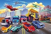 壁紙子供の部屋Cars Planes Race Cars–decoration cars–fire brigade–GREATアート 132.3 Inch x 93.7 Inch - 8 pieces 4260388440959