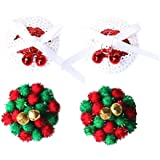 FENICAL 2 Pairs Nipple Cover Reusable Silicone Breast Petals Pasties in Sequin with Christmas Jingle Bells and pom pom Balls