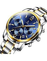 腕時計 クォーツ ブルー 夜光 クロノグラフ 日付 多機能 ステンレススチール メンズ