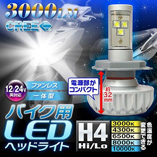 e-auto-fun バイクライト LEDヘッドライト H4 3000ルーメン 12V-24V Hi/Lo切り替え型