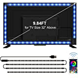 TV LED Backlights, CT CAPETRONIX 9.84ft USB RGB Strip Lights Kit, 5050 LEDs Lighting Music Sync Color Changing with Manual or