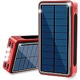 30000mAh モバイルバッテリー ソーラー 大容量 ソーラーチャージャー 太陽光 携帯充電器 ソーラー充電器 【PSE認証済】 急速充電 LEDライト付き Lightning/Typec/Micro USB 3入力ポート 4USB出力ポート IP