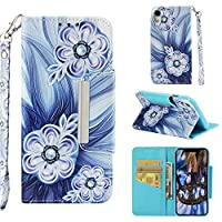 [iPhone XR] Case, MGVV Leather Folio Flip Case Cover Book Design with Kickstand Feature with Card Slots/Cash Suitable for iPhone XR 6.1 Inch Blue Flower