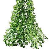 COOLBOTANG フェイクグリーン 人工観葉植物 壁掛け アイビー 藤 インテリア グリーン 植物 吊り 12本入り