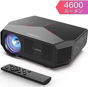 COOAU プロジェクター 高輝度 4600lm LED 1080PフルHD対応 ホームプロジェクター 200インチ大画面 1920×1080最大解像度 ホームシアター 台形補正 スピーカー内蔵 パソコン/スマホ/タブレット/PS3/PS4/DVDプレイヤーなど接続可 HDMIケーブル付属