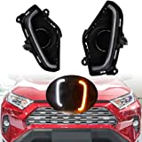 PGONE Switchback White Amber LED Front Fog Daytime Running Lamp w/Dynamic Sequential Flash LED Turn Signal Feature For 2019 2