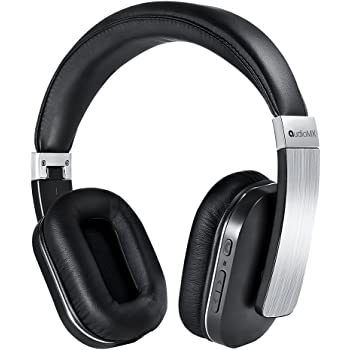 AudioMX Bluetooth ワイヤレスヘッドホン 密閉型 内蔵マイク 有線無線両方対応 オーバーヘッド 20時間連続稼働 (シルバー)