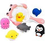 JoyGrow お風呂 おもちゃ 水遊びおもちゃ赤ちゃん 子供 シャワー かわいい 動物すくい 噴水 お風呂 魚網 アヒル クジラ ペンギン 7個セット (ピンク)