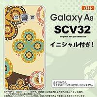 SCV32 スマホケース Galaxy A8 ケース ギャラクシー A8 イニシャル エスニック花柄 ベージュ×茶 nk-scv32-1583ini F