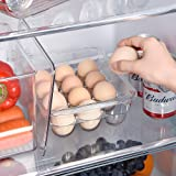 Ambergron Stackable Egg Holder Organizers for Refrigerator, Freezer, Kitchen Plastic 12 Eggs Storage Trays with Lids, Pantry,