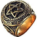 Oakky Men's Stainless Steel Vintage Five-Pointed Star Eye of God Ring Black Silver Gold Pentagram Design