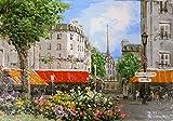 絵画 SM油絵 生田明 作 「パリの街角」 インテリア 風景 玄関