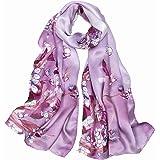Smi&Love Women's 100% Mulberry Silk Scarf Classic Print Shawl Wraps Scarves