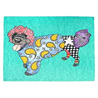 DIANOCHEキッチンPlaceマットby Artist Marley Ungaro–Portuguese Water Dogターコイズ Set of 4 Placemats PM-MarleyUngaroPortugWaterDogTurq2