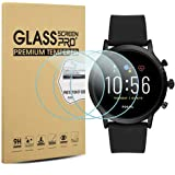 Suoman 3-Pack for Fossil Men Gen 5 Carlyle Screen Protector Tempered Glass for Fossil Men Gen 5 Smartwatch [2.5D 9H Hardness]