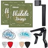 Ukulele Strings, Yoklili 2 Sets of Black and Clear Nylon Ukelele Strings with 5 Felt Picks, String Winder for Soprano (21 Inc