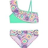 Hilor Girl's Strappy Bikini Swimwear Two Piece Swimsuits Side Tie Hipster Bathing Suits Tassels Tankini Set
