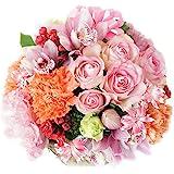 白坂花店 5本のバラと季節のお花のフラワーアレンジメント (薔薇/カーネーション) 手作り 生花