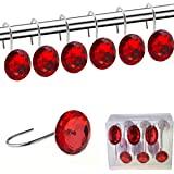 (Red) - Shower Curtain Hooks Diamond Shape Shower Rings/Round Acrylic Decorative Rhinestones Bling Rolling Bathroom Bath Set