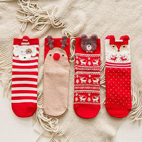 かわいい 立体 動物模様の女性の靴下と女の赤ちゃんの靴下 ソックス 21-25cm (クリスマステーマ)