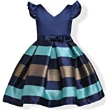 IIYoYo Girls Kids Striped Ruffles Ball Gown Party Wedding Bridesmaid Dresses 2-9Y