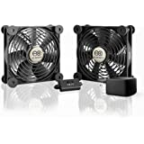 AC Infinity MULTIFAN S7-P Quiet Dual 120mm AC-Powered Fan with Speed Control for Receiver DVR Playstation Xbox Component Cool