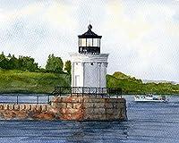 """ポートランド防波堤灯台、メイン州Coast。Neoclassical """"バグライト"""" on Casco Bay。マット水彩アートPrints 8x10"""