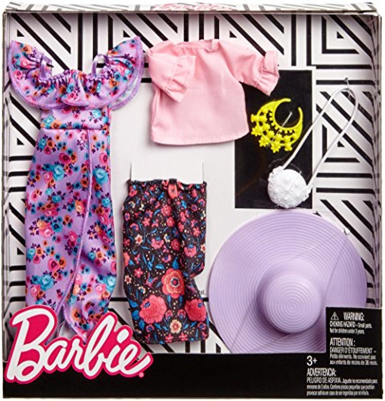 バービー 人形 洋服 フリルとフラワープリントスカート 服 アクセサリー ファッション2パックセット