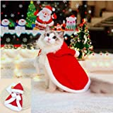 Zhenpony Cat Costume Pet Christmas Costume with Bells Soft Thick Fabric Red Velvet Pet Cape Cat Cloak with Christmas Hat Cat