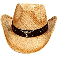 D Diana Dickson Classic Western Structured Curved Brim Straw Cowboy Hat