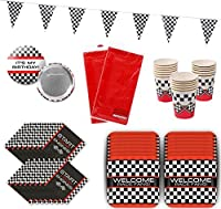 Race Car Party Birthday Racing Party Supplies Tableware Pack Bundle for 16 [並行輸入品]