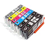 CANON (キヤノン) 381 380 6色パック (全色大容量)【 BCI-380XL BK 】+【 BCI-381XL BK/C/M/Y/GY 】ICチップ残量表示検知機能付き Mt.Smile製 互換インクカートリッジ BCI-381+380